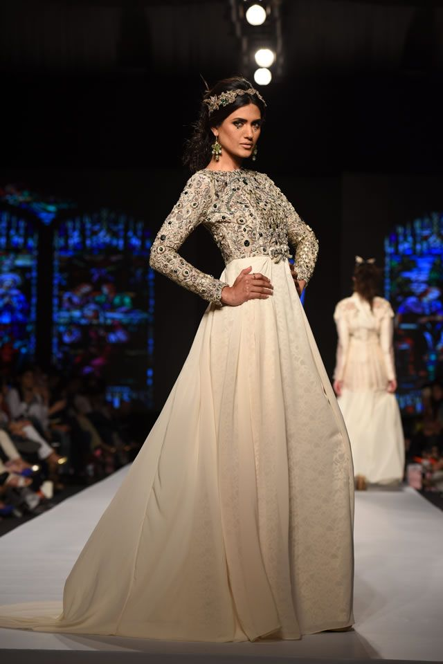 Fahad Hussayn showcased Spring-Summer Season collection Dominionatrix at Telenor Pakistan Fashion Week 2015, Karachi. PC.
