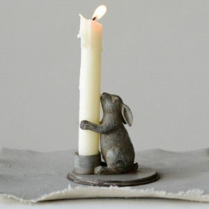 Pewter Bunny Candle Holder, Set of 2