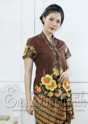 CA.10971 Brown Kembang Sepatu Kebaya Embroidery Catalog