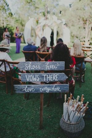 """""""Shoes Here, Vows There"""" Wedding Signage - Lovebird Weddings, Noosa Australia"""
