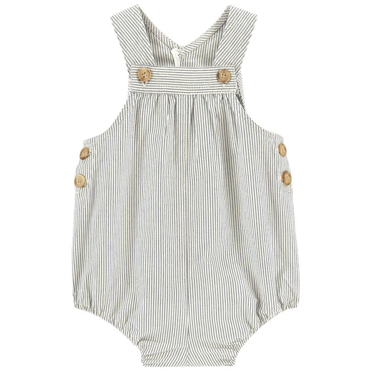 Cotton denim Pleasant to the touch Loose fit hips Ajustable straps Buttoned straps Buttons on the sides Elastic bands on the thighs Snap buttons inside the legs Stripes - $ 165