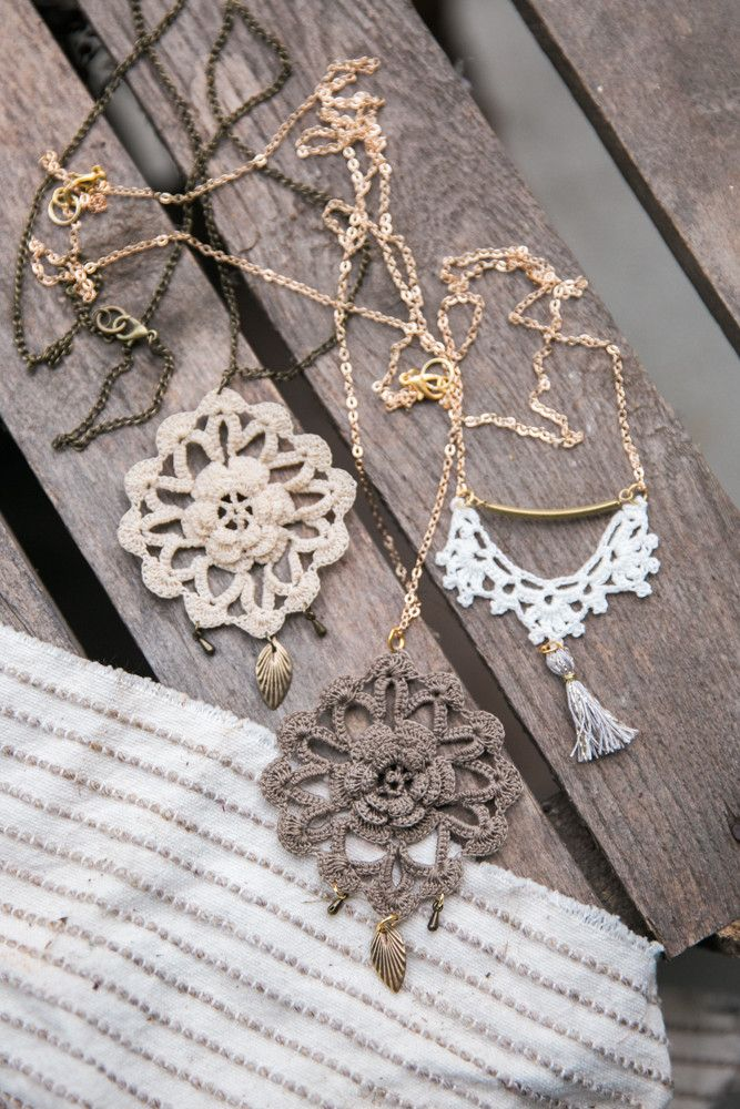 - This necklace is handmade with taupe crochet and brass elements. - It combines antique and modern inspiration into a boho chic necklace, particular and eye-catching! - The pendant has been hand croc