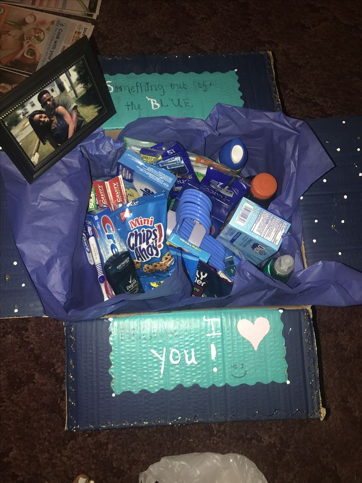 Care Package for Boyfriend ! (He just moved across the country, sent him this perfect package of goodies!)