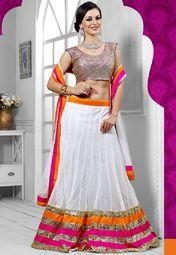 Admyrin White Embroidered Lehenga Online Shopping Store