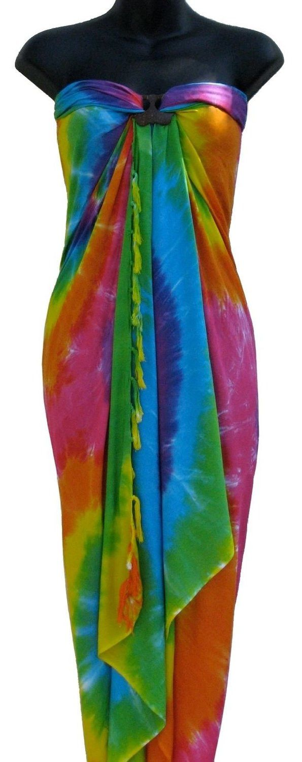 Super Soft and Attractive Tie-dye convertible beach sarong. Can be tied in multiple ways to create the perfect beach or pool look. The perfect colorful summer beach and pool cover up. - Multi Color Ti