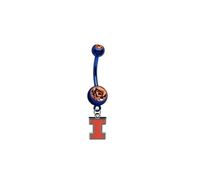 Illinois Fighting Illini NCAA College Belly Button Navel Ring - Pick Your Color