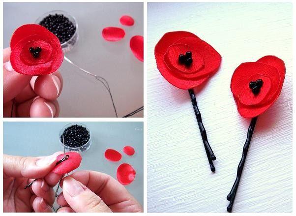 make your own fabric poppy flower . DIY