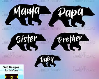 Mama Bear Svg Etsy Mama Bear Silhouette Cameo Svg