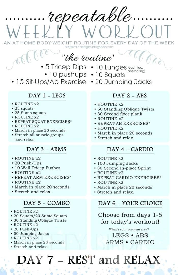 exercise at home plan weekly workout plan achievable ...