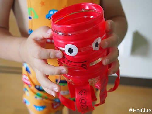 ペットボトルとビニールで簡単に作れる、水あそび用のおもちゃ。色んな生き物へアレンジもいろいろ♪ 作るのも遊ぶのも楽しい、乳児さんから幼児さんまで楽しめる手作りおもちゃです。