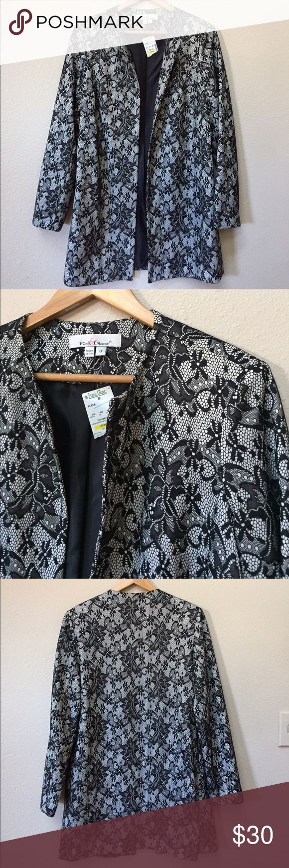 "NWT black lace lightweight trench coat NWT black lace lightweight trench coat. Size 8. 100% polyester. Approximate length from shoulder is 33"" and armpit to armpit across the back is 21"". There are no zippers or closures in the front. No pockets. Jackets & Coats Trench Coats"
