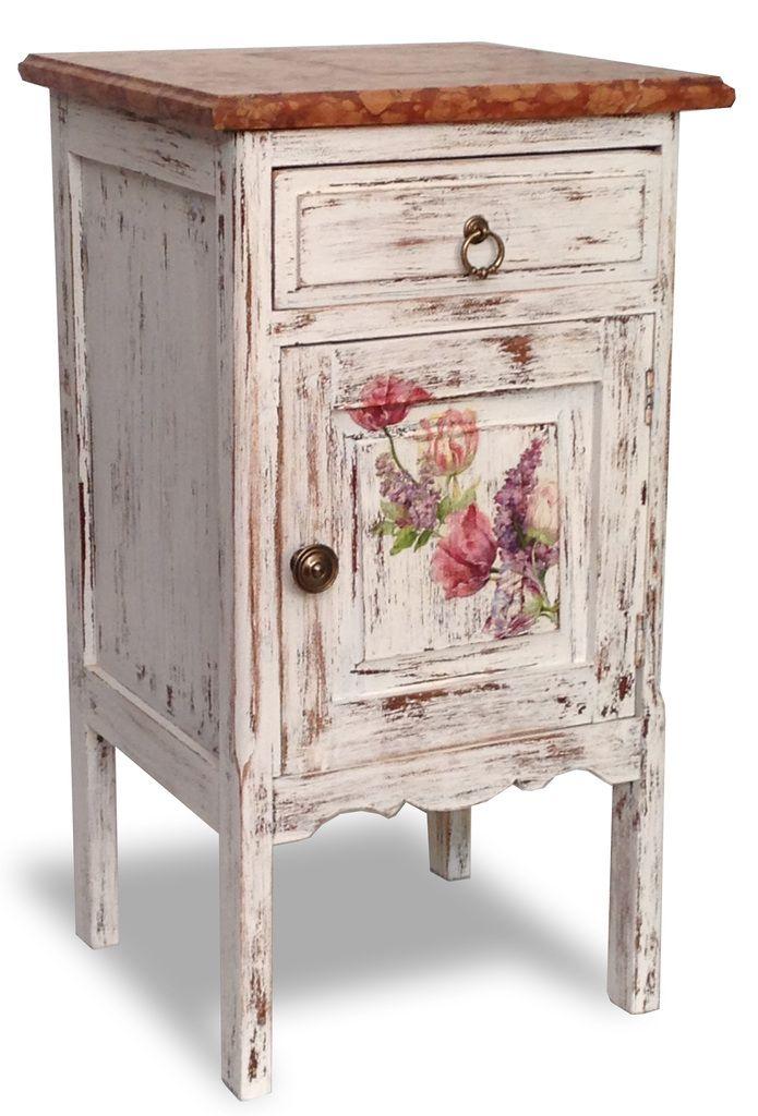 Mesa Mesita de luz antigua estilo shabby chic — Muebles y decoración - Porteño & Chic