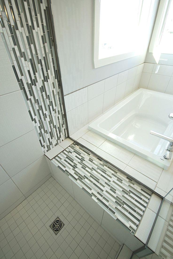 Mosaic tile shower seat