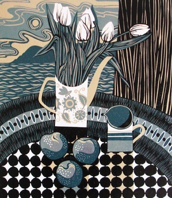For Arts Sake | Print Making : 'Plums' by Jane Walker (linocut)