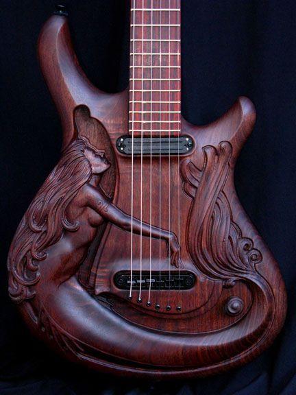 Mermaid solid-body guitarCarvings Guitar, Williams Jeffrey, Music Instruments, Art, Beautiful, Mermaid Guitar, Things, Wood Carvings, Electric Guitar