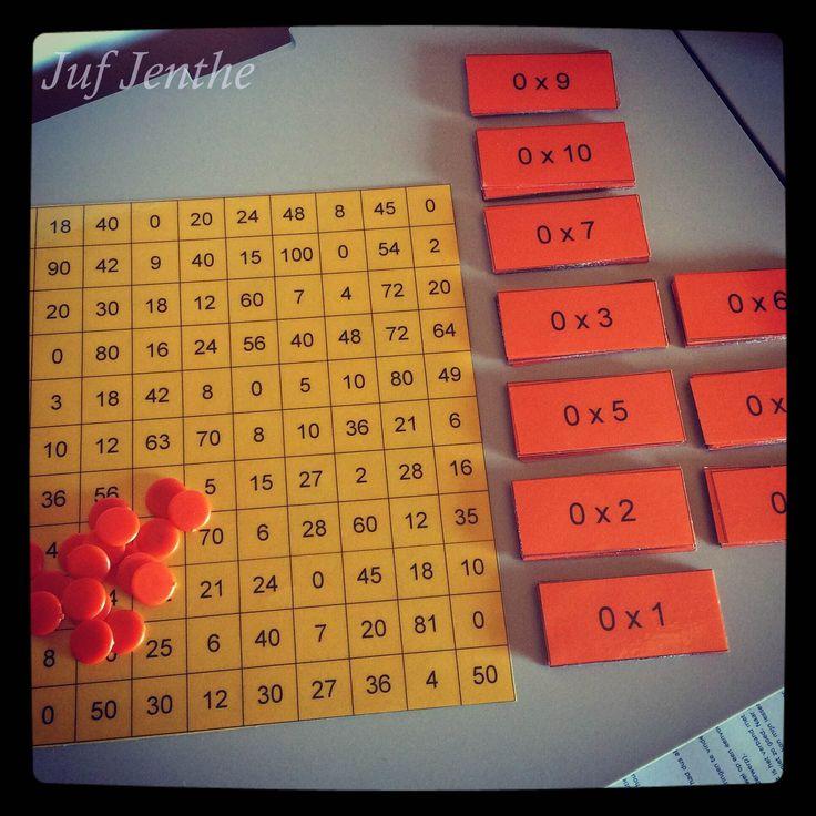 Leuk om de maaltafels in te oefenen. De leerlingen trekken om de beurt een kaartje uit de kom. Juist antwoord: de leerlingen bedekken de uitkomst met een schijfje en houden het kaartje bij. Fout antwoord: de leerlingen leggen het kaartje opnieuw in de kom. De leerlingen proberen zoveel mogelijk vier op een rij te maken. Per keer dat er vier op een rij gemaakt wordt, krijgen de leerlingen een punt. Kan individueel of in groep gespeeld worden.