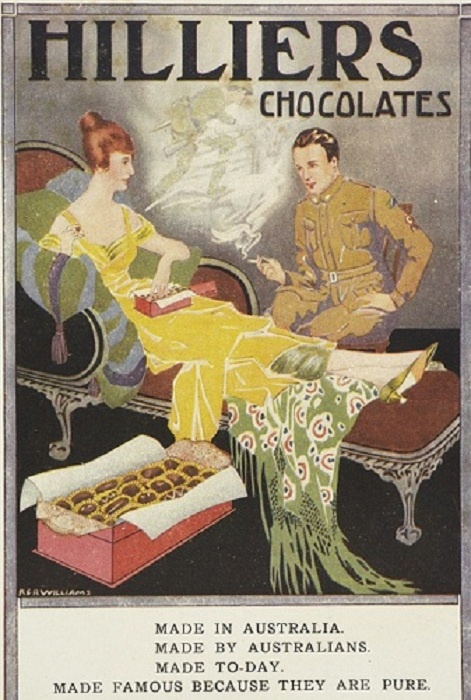 Hillier's Chocolates - Vintage Advertisement. Australian made and owned. Australia's first chocolate manufacturer , since 1914.