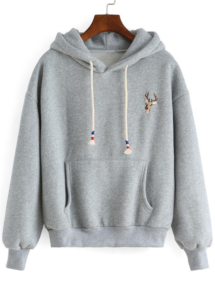 Sweat-shirt à capuche avec broderie cerf -gros 15.51