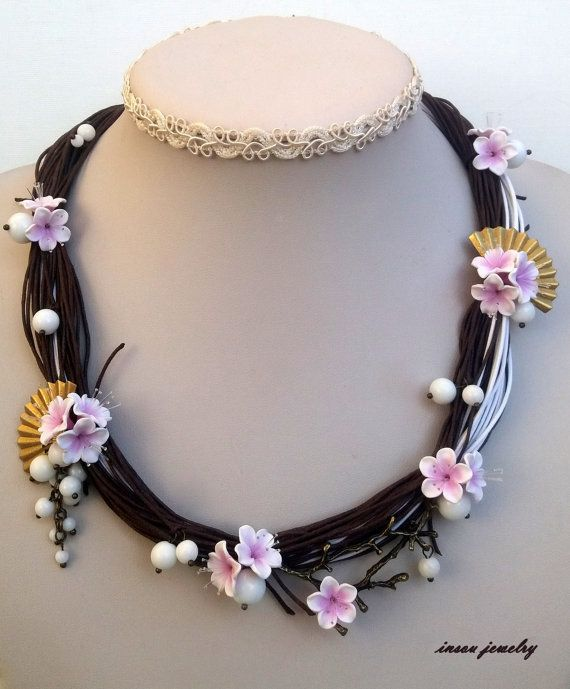 Pink Necklace Sakura Cherry Blossom Flower by insoujewelry on Etsy
