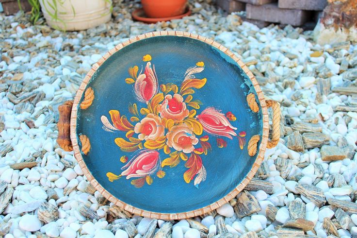 Beautiful Large Norwegian Wooden Rosemaling Plate with Natural Rope Handles, Norway Wood Painted Serving Tray, Scandinavian Design by Grandchildattic on Etsy