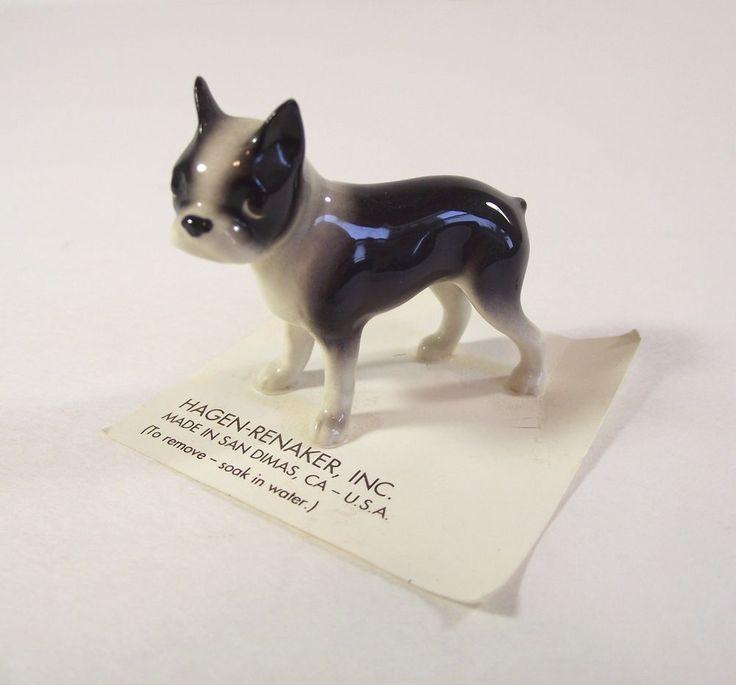 HAGEN-RENAKER Boston Terrier Miniature Figurine Standing Dog Puppy Black White
