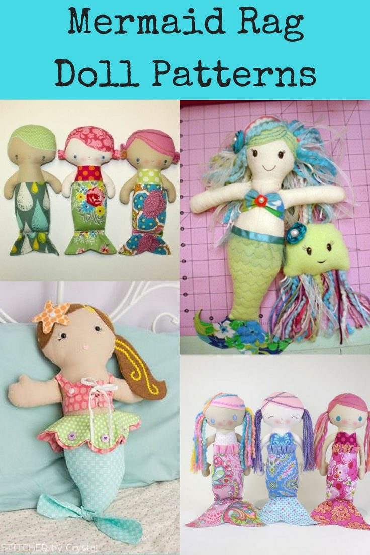 Top Mermaid Rag Dolls Sewing Patterns PDFs.