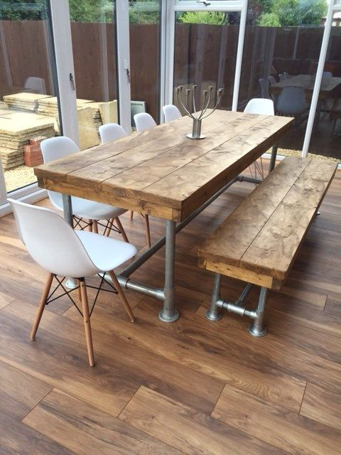 Urban Industrial Rustic Reclaimed Scaffold Board Dining Table Bistro  Restaurant