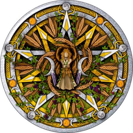 Lammas/Lughnasadh Pentacle Shower Curtain on CafePress.com