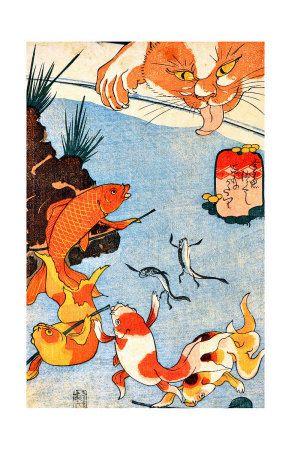 Chat et poisson rouge reproduction procédé giclée sur AllPosters.fr