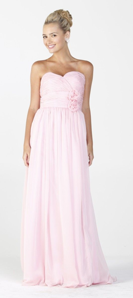 Long flowy chiffon bridesmaid dress baby pink strapless for Long flowy wedding dresses