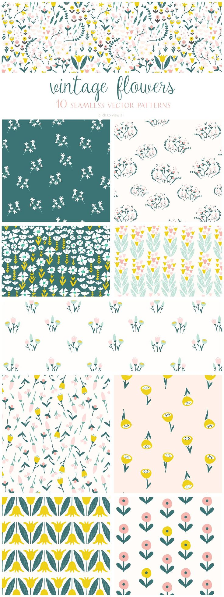 Vintage Flowers Pattern Collection by Elan Creative Co. on @creativemarket