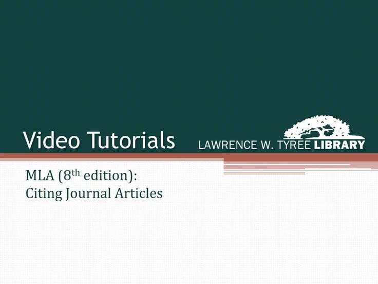 MLA: Citing Journal Articles (8th edition) on Vimeo