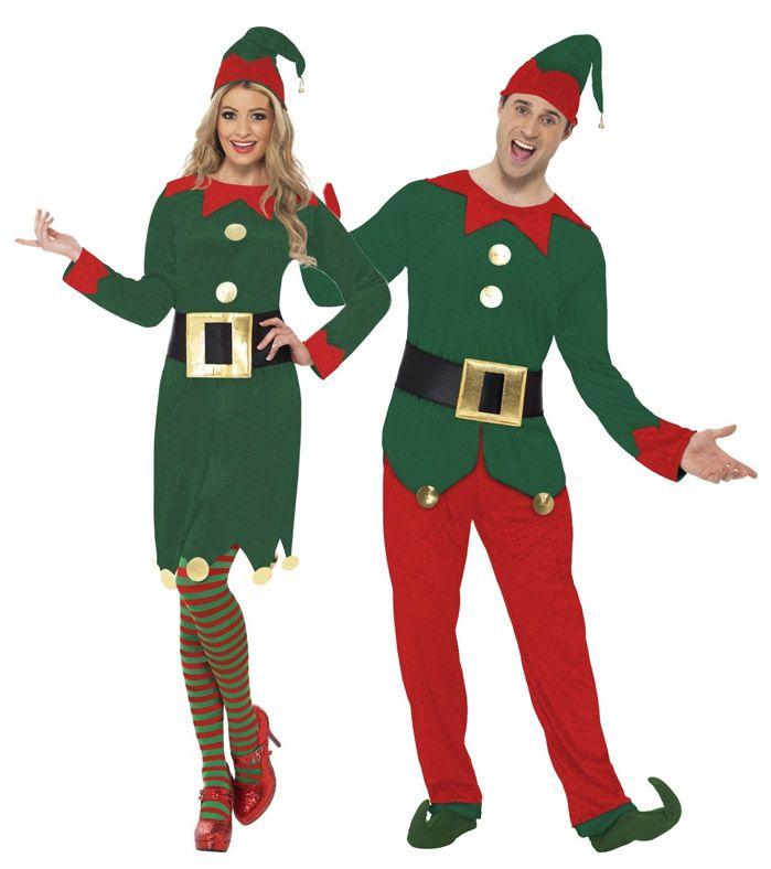 Déguisement de couple elfes du Père Noël adulte : Déguisement elfe femme NoëlCe déguisement d'elfe de Noël pour femme se compose d'une robe, d'une ceinture et d'un bonnet (collants et chaussures non incluses)....