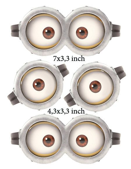 "INSTANT DOWNLOAD D Minion Eyes 7"" x 3,3"" and 4,3x3,3 inch on Etsy, $2.50"