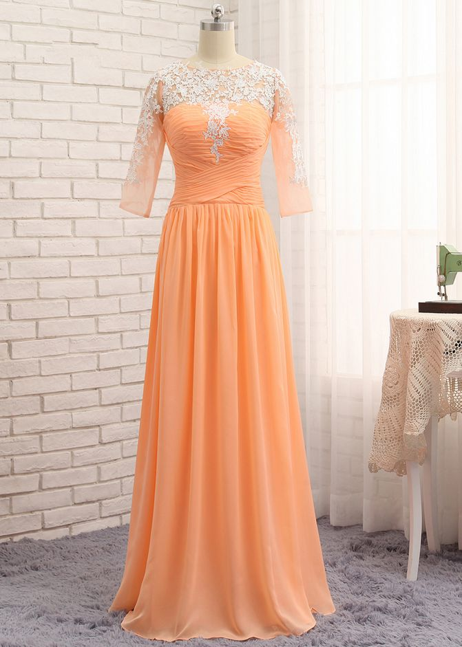 Orange Evening Dresses A-line Half Sleeves Chiffon Appliques Lace Elegant Long Evening Gown Prom Dress Prom Gown