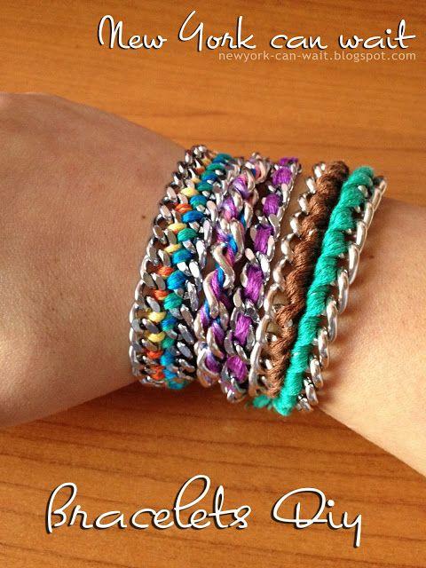 braccialetti con fili di cotone e catene