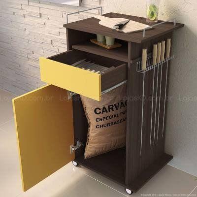 Carrinho Gourmet para Churrasco 1 Porta e 1 Gaveta Elo 100% MDP Café/Sol - San…