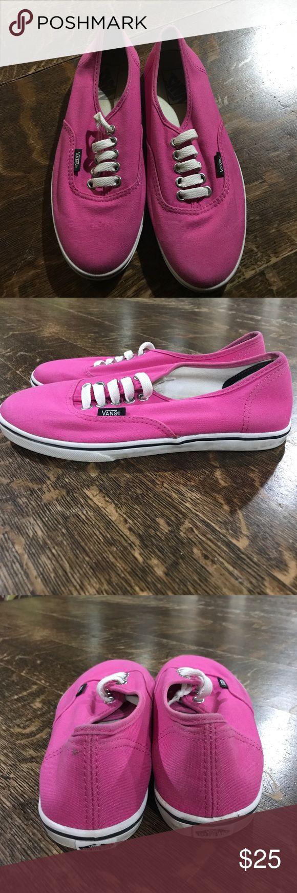 Hot Pink Vans EUC Hot pink vans in excellent used condition. One small spot on the back of the left shoe, see last photograph. The rubber around the shoe can be cleaned up & will look just like new!!! Vans Shoes Sneakers