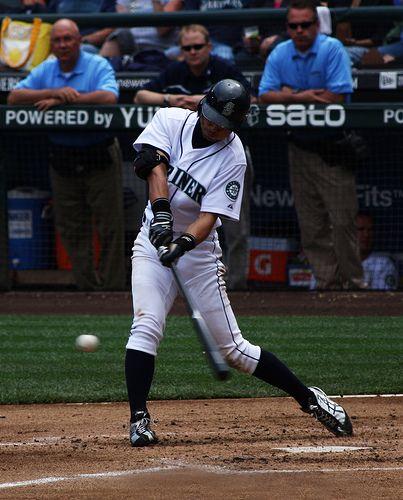 Ichiro Suzuki   Ichiro Suzuki swings at a knee-high pitch.   Rennett Stowe   Flickr