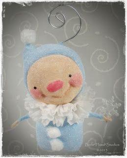 Elfin Christmas spun cotton ornie