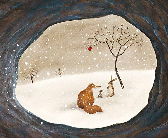 """This """"Snow scene"""" of Feridun Oral takes you to the your childhood fairy tales. Actually, this lovely illusration appears on his own child book La Manzana Roja (Red Apple)."""