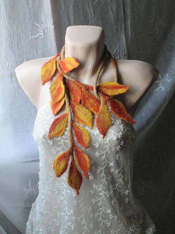 Felt scarfFelt leaves lariatFelt beltFelt scarf with