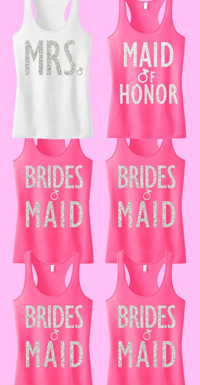 """Cute #Bridal Party tank tops with glitter print! Great for the #Bride and #Bridesmaids. """"7"""" tank tops for only $148.95, Free MRS. tote bag included! Click here to buy https://www.etsy.com/listing/188899826/bridal-wedding-7-tank-tops-15-off-bundle?ref=shop_home_active_21"""