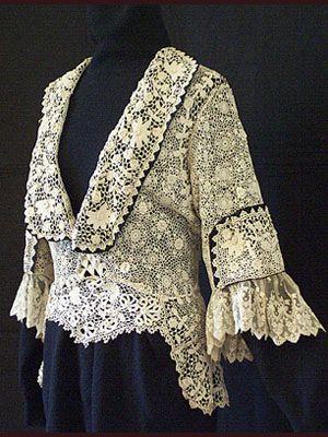 Handmade Irish crochet lace jacket with satin trim, c.1910.