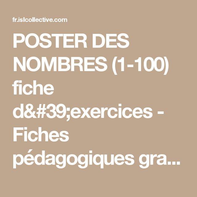 POSTER DES NOMBRES (1-100) fiche d'exercices - Fiches pédagogiques gratuites FLE