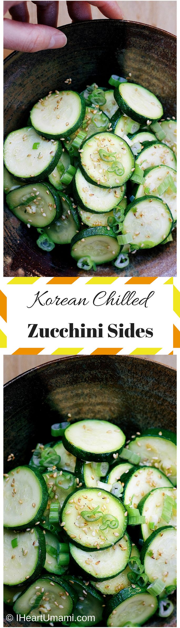 Korean Chilled Zucchini Sides. A delicious zucchini side dish to help you eat more veggies. Paleo,Keto, Whole30, Vegetarian friendly. Follow the pin to learn how to make this insanely delicious dish !