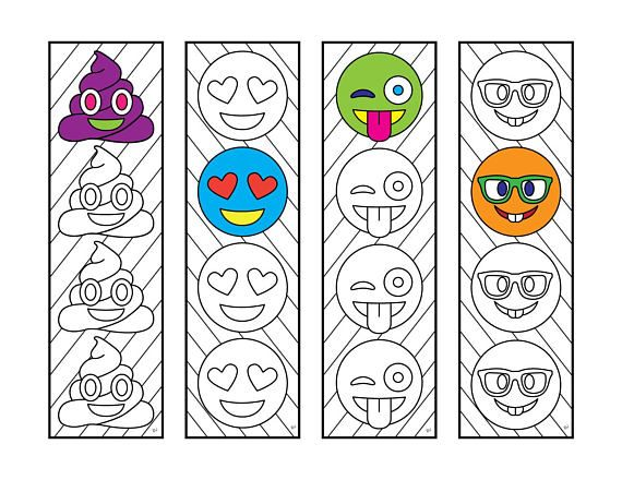 Emoji Bookmarks  PDF Zentangle Coloring Page -  - perfect gift or kids activity - poop emoji, love emoji, tongue out emoji, nerdy emoji