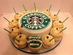 Starbucks Birthday Cake & Cupcakes | Flickr - Photo Sharing! I would love a cake like this for my birthday!! @Claudia @LittleFoodCottage