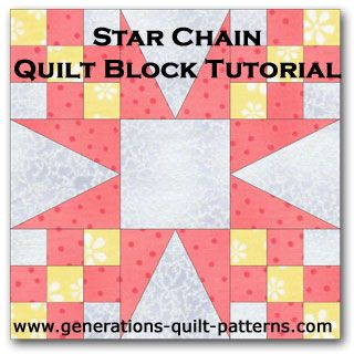 Learn how to make a Star Chain quilt block. Free downloadable paper piecing patterns for 'triangle in a square' parts of this block.