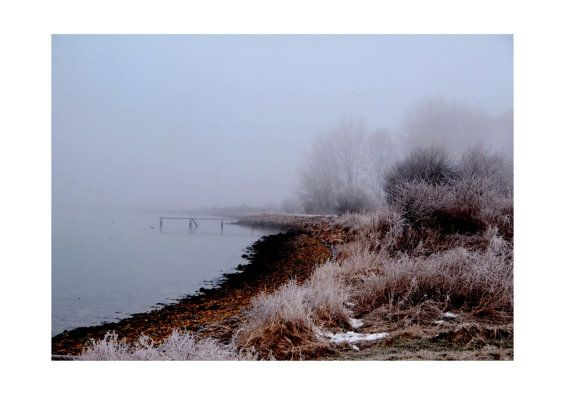 Foggy winter lake landscape photo Coastal winter by TheClayPlay